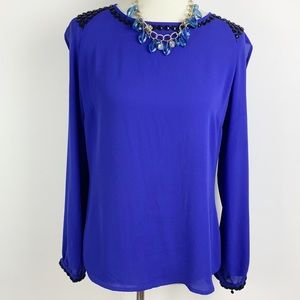 Cache Blue Long Sleeve Embellished Blouse M B1640